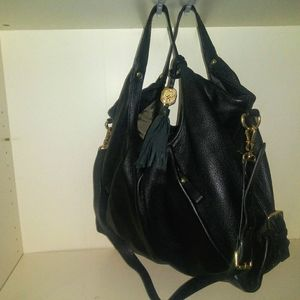 Vince Camuto black leather hobo bag